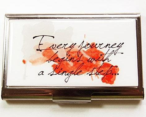 Every Journey Begins Business Card Case - Kelly's Handmade