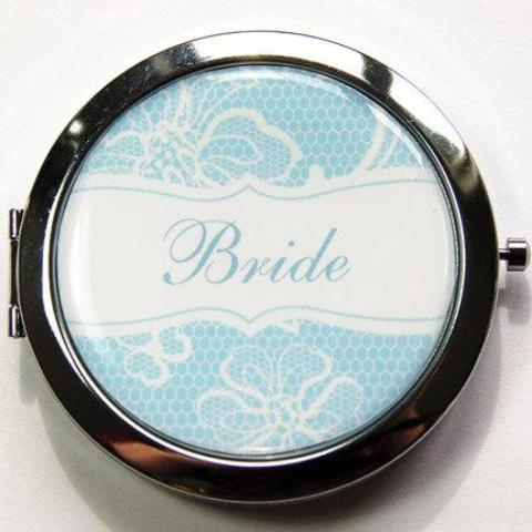 Bride's Lace Something Blue Personalized Compact Mirror - Kelly's Handmade