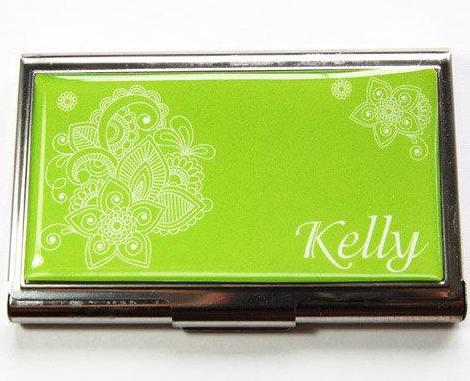Personalized card case kellys handmade doodle business card case in green colourmoves