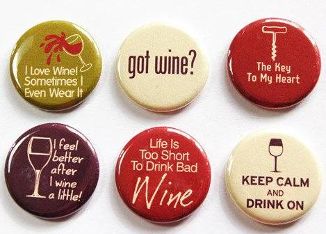 Wine Lovers Set of Six Magnets - Kelly's Handmade