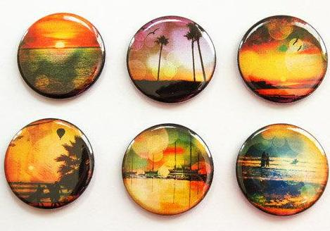 Sunset Set of Six Magnets - Kelly's Handmade