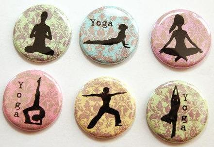 Yoga Poses Set of Six Magnets - Kelly's Handmade