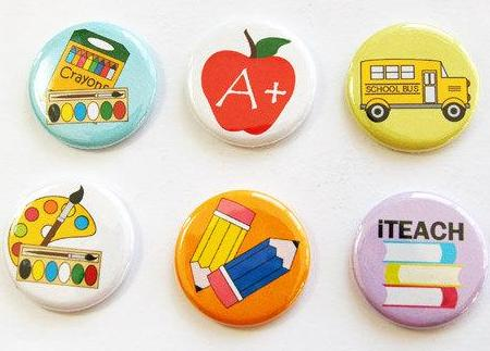 Teacher Set Of Six Magnets #1 - Kelly's Handmade