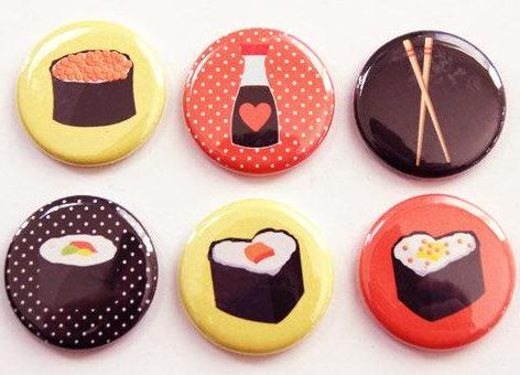 Sushi Set of Six Magnets - Kelly's Handmade