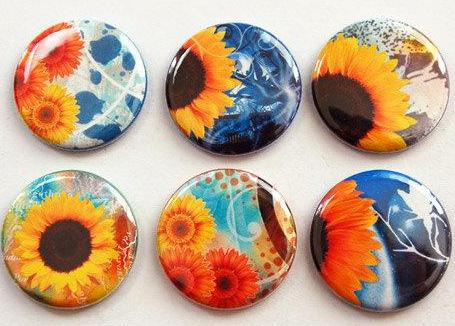 Sunflowers Set of Six Magnets - Kelly's Handmade