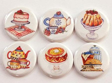 Tea Time Set Of Six Magnets - Kelly's Handmade