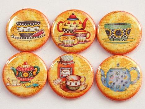 Tea Time Set Of Six Magnets on Orange - Kelly's Handmade