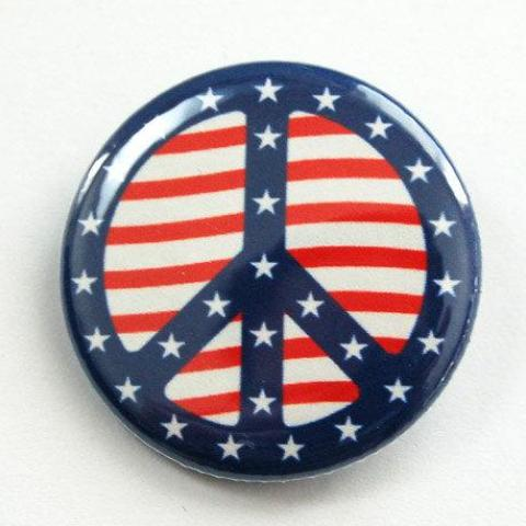 Peace Sign Stars & Stripes Pin - Kelly's Handmade