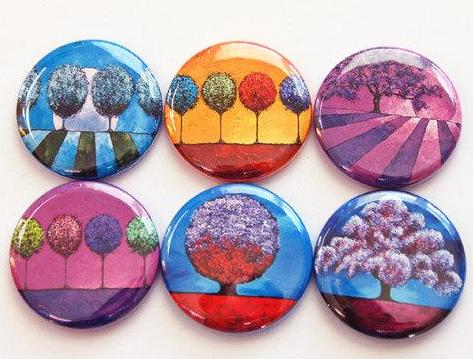 Abstract Trees Set of Six Magnets - Kelly's Handmade