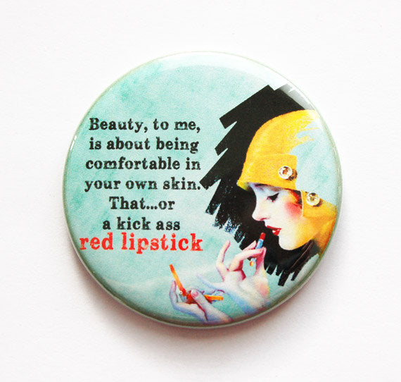 Pocket mirror, mirror, funny pocket mirror, humor, beauty, purse mirror, funny saying, sassy women, red lipstick, retro (3478) - Kelly's Handmade