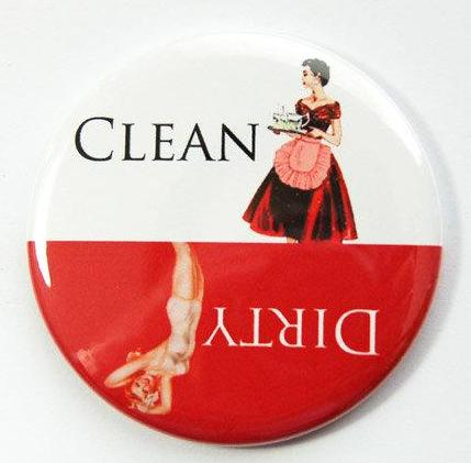 Pinup Girls Dishwasher Magnet Red & White #1 - Kelly's Handmade