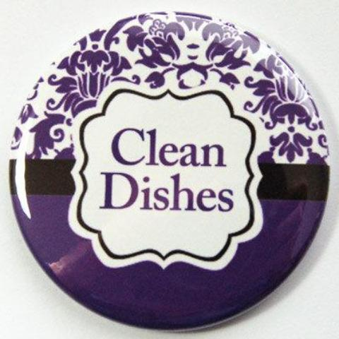 Damask Clean Dishes Dishwasher Magnet in Purple - Kelly's Handmade