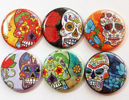 Sugar Skull Sets Of Six Magnets - Kelly's Handmade