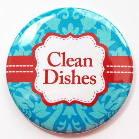 Damask Clean Dishes Dishwasher Magnet in Turquoise & Red - Kelly's Handmade