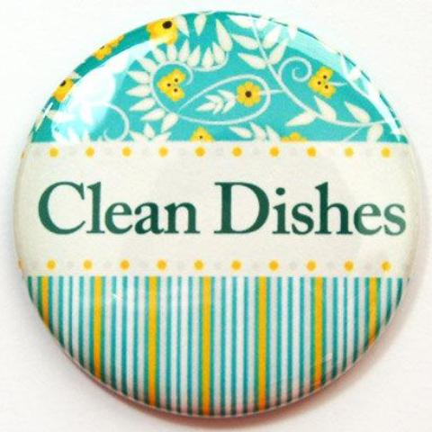 Flowers & Stripes Clean Dishes Dishwasher Magnet in Green - Kelly's Handmade