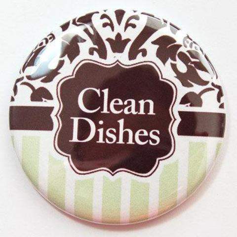Damask Clean Dishes Dishwasher Magnet in Brown & Green - Kelly's Handmade