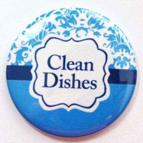 Damask Clean Dishes Dishwasher Magnet in Blue - Kelly's Handmade