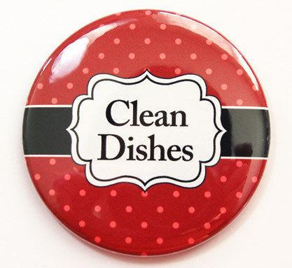 Polka Dot Clean Dishes Dishwasher Magnet in Red - Kelly's Handmade