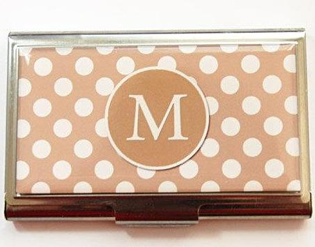 Polka Dot Monogram Business Card Case in Tan - Kelly's Handmade
