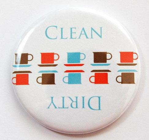 Cups Clean & Dirty Dishwasher Magnet - Kelly's Handmade