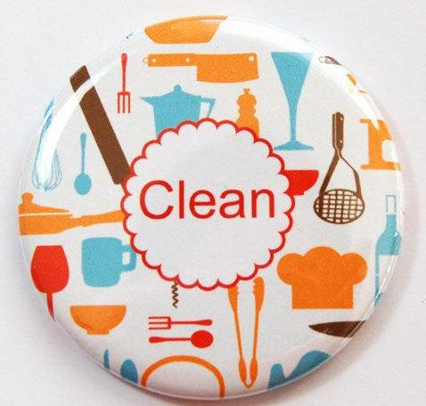 Retro Kitchen Clean Dishes Dishwasher Magnet - Kelly's Handmade