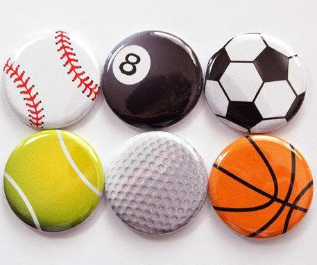 Sports Balls Set of Six Magnets - Kelly's Handmade