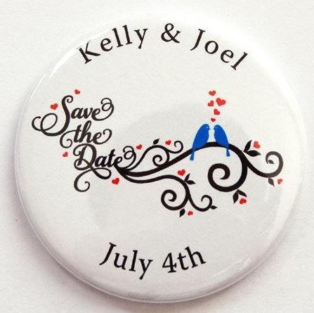 Love Birds Round Save the Date Magnets - Kelly's Handmade