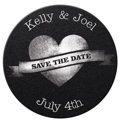 Faux Chalkboard Heart Save The Date Magnets - Kelly's Handmade