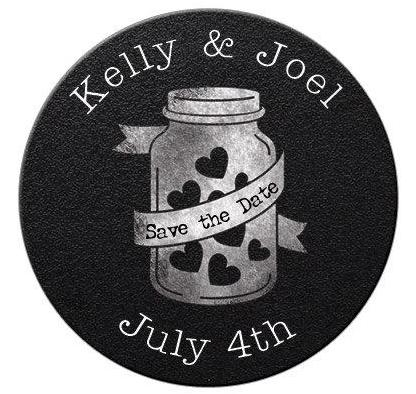 Mason Jar Hearts Save The Date Magnets - Kelly's Handmade