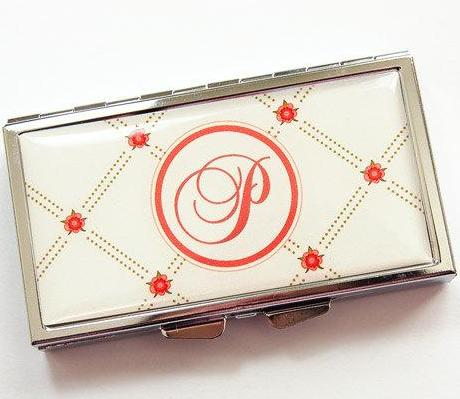 Flower Monogram 7 Day Pill Case in Ivory & Orange - Kelly's Handmade