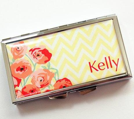Flowers & Chevron Personalized 7 Day Pill Case in Yellow & Red - Kelly's Handmade