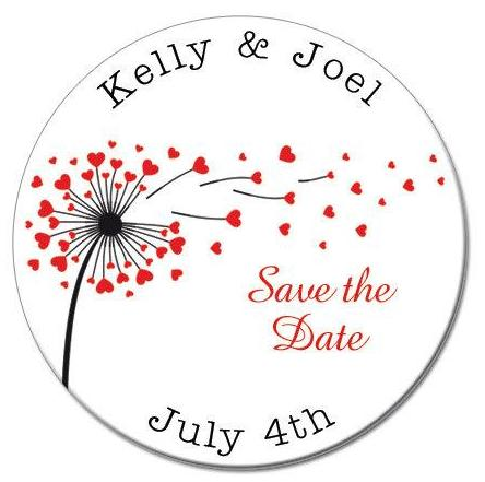 Flower Hearts Round Save The Date Magnets - Kelly's Handmade