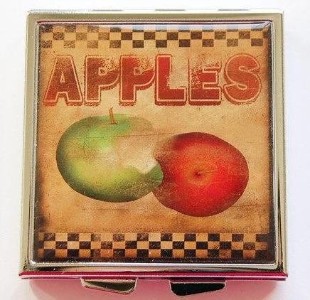 Apple Folk Art Square Pill Case - Kelly's Handmade