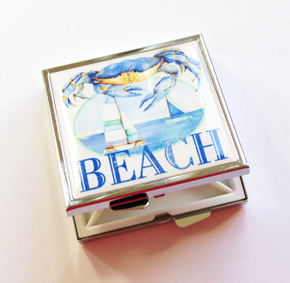 Beach Sailboat Square Pill Case in Blue - Kelly's Handmade
