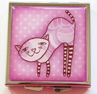 Cat Square Pill Case in Pink - Kelly's Handmade