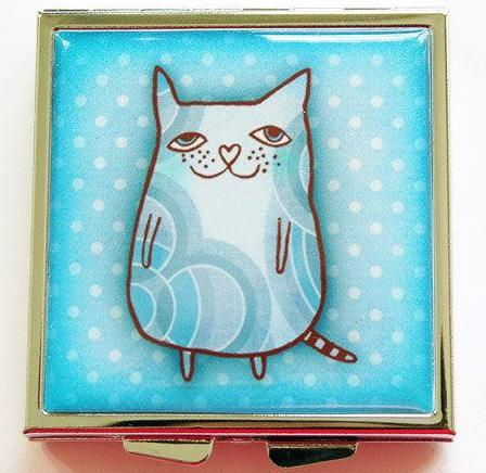 Cat Square Pill Case in Blue - Kelly's Handmade