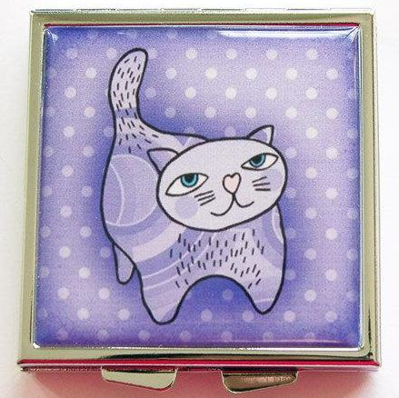 Cat Square Pill Case in Purple - Kelly's Handmade