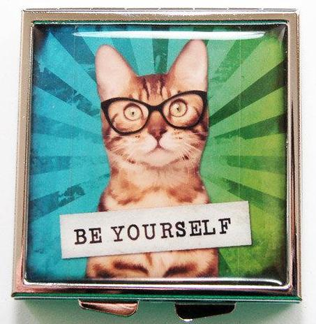 Be Yourself Cat Square Pill Case - Kelly's Handmade