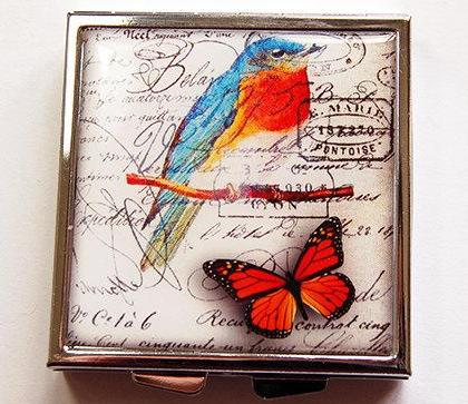 Bird & Butterfly Square Pill Case - Kelly's Handmade