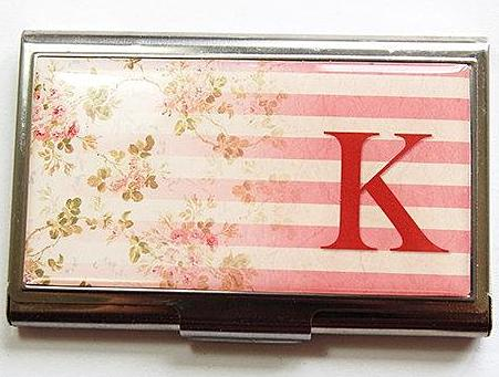 Striped Floral Monogram Business Card Case in 3 Colors - Kelly's Handmade