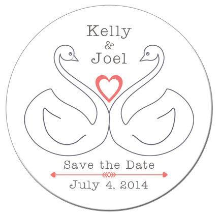 Swans Save The Date Magnets - Kelly's Handmade