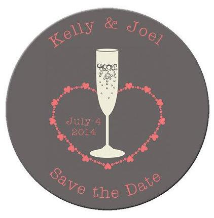 Champagne & Heart Save the Date Magnet - Kelly's Handmade