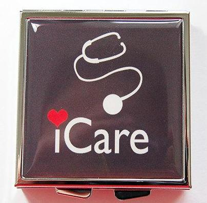 iCare Square Pill Case in Black - Kelly's Handmade