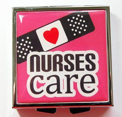 Nurses Care Square Pill Case in Pink - Kelly's Handmade