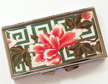 Floral Geometric 7 Day Pill Case in Green & Pink - Kelly's Handmade