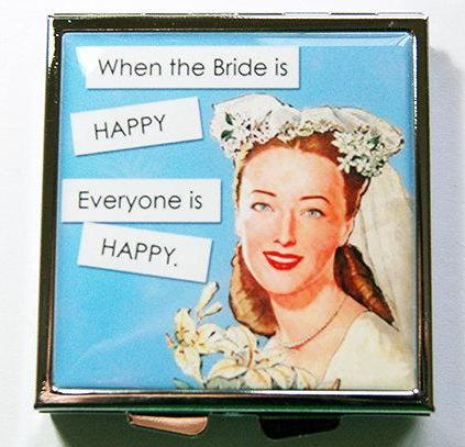 Bride Is Happy Something Blue Square Pill Case - Kelly's Handmade