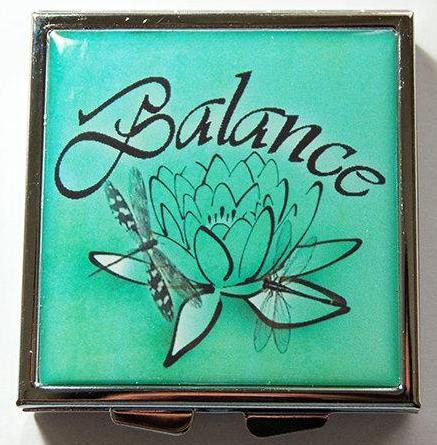 Balance Lotus Flower Square Pill Case - Kelly's Handmade
