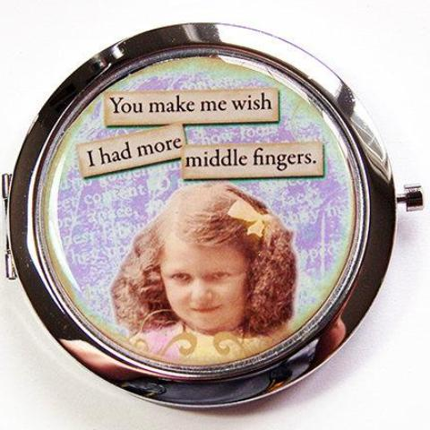 Middle Finger Funny Compact Mirror - Kelly's Handmade