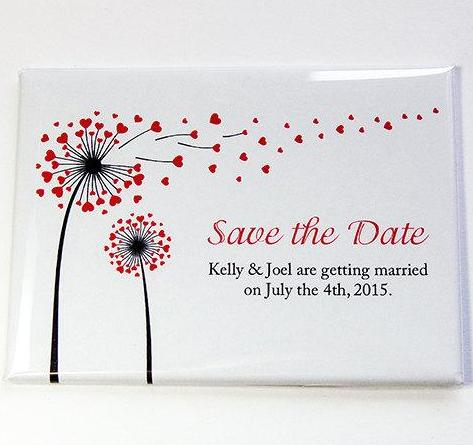 Flower Hearts Rectangle Save The Date Magnets - Kelly's Handmade