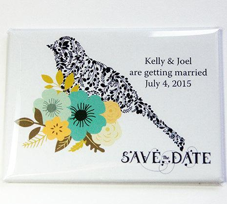 Bird & Flowers Save the Date Magnets - Kelly's Handmade
